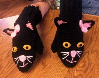 Kitty mittens, cat mittens, black kitty cat mittens. Multiple sizes available.