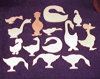 Lot of 14 Various Wooden Thin Goose Shapes, some with Hats or Bows, unfinished wood, for Craft, Art Projects