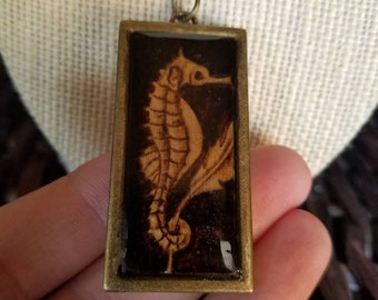 Long rectangle seahorse pendant