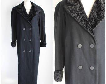 Vintage 1980s Black Wool Overcoat / Black Shearling / Full Length Coat / Wide Shoulder / Double Breasted Overcoat