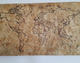 World map, burnt etched into a recycled pallet/osb board. Upcycled. Wall hanging