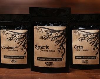 Herbal Tea Gift Set - Mood Boost, Brain Boost, Aging, Stress Relief, Calming, Relaxation - Loose Leaf Tea Sampler, Healthy Living, Wellness