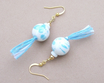 Blue Skies Over Argentina - Flag Inspired Tassel Earrings - World Cup Jewelry