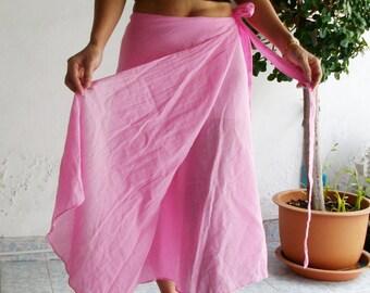 Cotton Wrap Skirt Sarong Tie Summer Sun Floaty Beach Pink