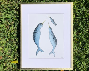 Narwhal Family Nursery Print