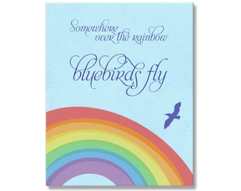 Somewhere Over The Rainbow Bluebirds Fly Art, Retro Art for Nursery or Girl's Room Wall Art, Wizard of Oz Song Quote, Poster Print or