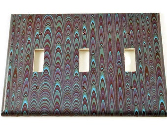 Triple Light Switch Cover Wall Decor Switchplate  Switch Plate in Blue Marble  (083T)