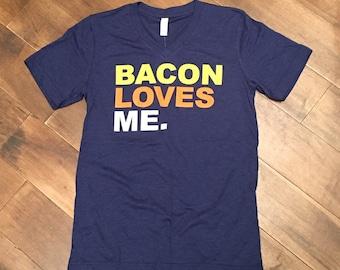 Bacon Loves Me V-Neck T-Shirt