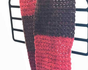 Red color block scarf