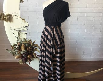 """Ready Made Stripe, Standard 50"""" long back. Two-Toned Tulip Cut Octopus Infinity Convertible Wrap Gown"""