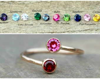 DUAL BIRTHSTONE RING - Birthstone Ring, Two Birthstones,gemstone couples ring gold double birthstone ring -mother's ring, Dual Gemstone Ring