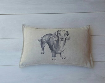 Dachshund linen pillow ~oblong natural sausage dog fabric~ dachshund gifts, dog lovers, wiener dog, dachshund cute, wiener pillow, dachshund