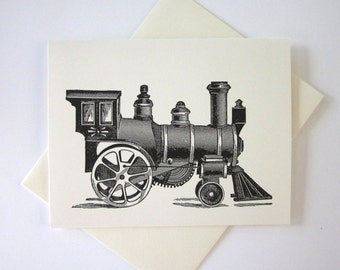 Train Cards Set of 10 in White or Light Ivory with Matching Envelopes