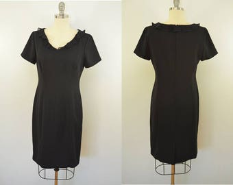 on sale Vintage Black Short Sleeve Dress Ruffle Collar Depeche Mode Size 4 Made in USA.