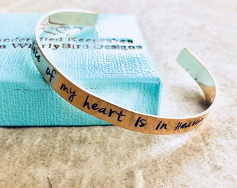 A piece of my heart is in Heaven personalized cuff bracelet memorial gift loss of parent loss of child hand stamped jewelry custom gift