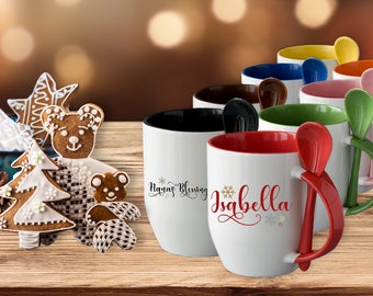 Personalized Gift for Kids - Christmas Gift - Hot Chocolate Mug, Ceramic Mug, Spoon, Personalized with Name, Holiday Gift, Nana's Blessings