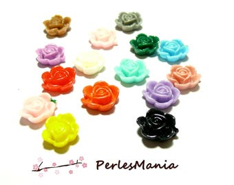Special offer: 40 cabochons resin ref HR025 flower mulit color 14 by 6mm