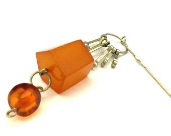 Amber Baltic Brooch Genuine 4.49 Gr Antique Caramel Light Color