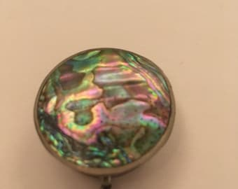 Antique miniature round box made of beautiful colorful abalone shell and alpaca