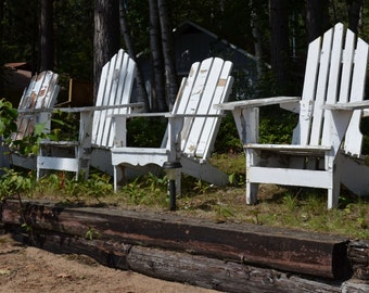 Contentment - cottage, muskoka chairs, adirondack, white, weathered, outdoors