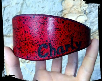 Customised GREYHOUND / WHIPPET / LURCHER Leather Collar
