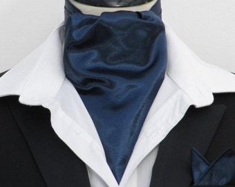 Mens Navy Blue Faux Silk Ascot Cravat + Kerchief
