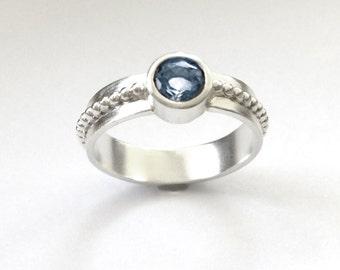 Topaz Silver Ring Tube Set Blue Topaz Size 8 1/2