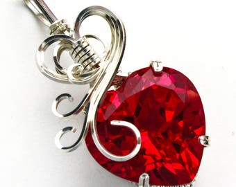 Ruby Heart Shaped CZ Swirls and Curls Silver Filled Wire Pendant
