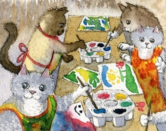 Cat kitten nursery school 8x10 print by Susan Alison