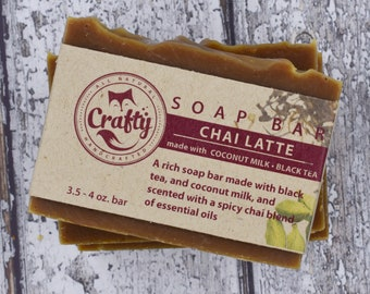 Chai Soap Bar With Organic Black Tea and Natural Soap Chai Soap Vegan Soap Cold Process Soap Gift for Her Homemade Soap Fathers Day