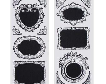 Fancy Silver Frame Chalkboard Label Stickers, 3-Inch, 2-Sheets