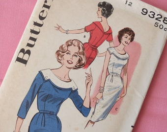 1960s Sheath Dress with Shaped Collar - Vintage Pattern Butterick 9328 - Bust 32 FF