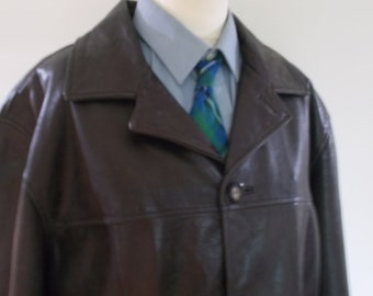 Vintage leather jacket mens black leather jacket by Guess size XL
