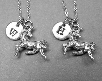 Best friend necklace, unicorn necklace, unicorn charm, BFF necklace, friendship jewelry, personalized charm, initial necklace, monogram