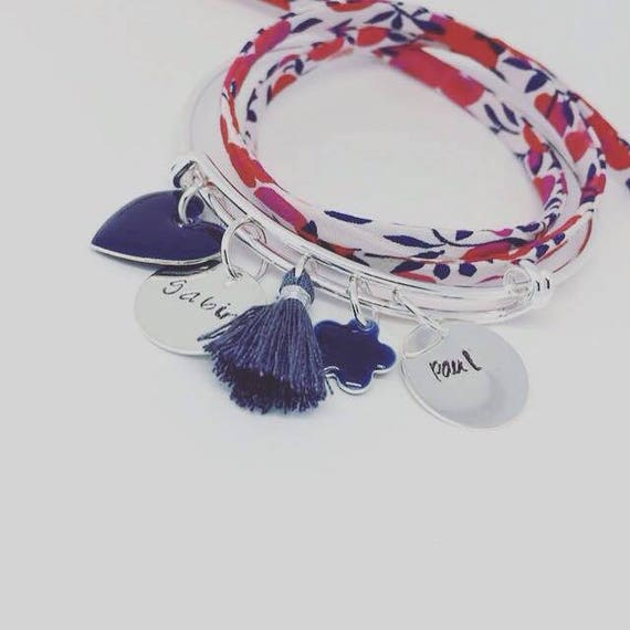 """Bangle personalized silver plated - 2 medals engraved personalized """"Hello love"""" by Palilo engraving"""