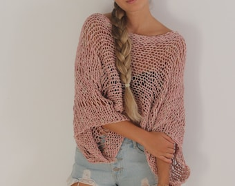 Blush pink open knit crop sweater, boho open knit top, chunky cropped sweater, cotton sweater, loose knitted blush pink grunge sweater