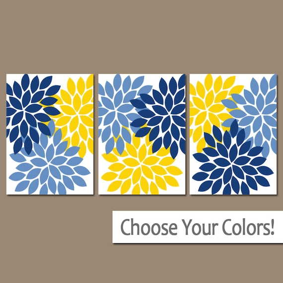 Flower Wall Art Navy Blue Yellow Bedroom Canvas or Print