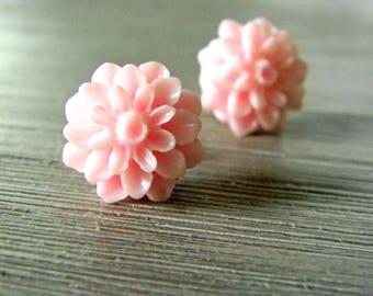 Pink Mum Flower Post Earrings 15mm