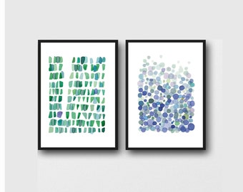 Print Set of 2 Watercolor Prints gift Blue and Green Home Decor set of 2 abstract watercolor prints Abstract paintings, blue green painting