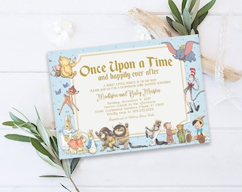 Books and brunch baby shower invitation storybook baby shower storybook baby shower invitation storybook invitation storybook theme once upon a time invitation new chapter baby shower invitation filmwisefo