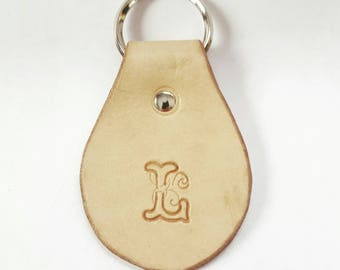 Custom Leather Circle Oval Monogrammed Key Fob, Personalized Leather Key Chain, House Warming Gift, Birthday Gift, Initial,