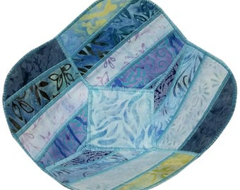 Decorative Bowl in Light Blue Batik Fabrics, Reversible