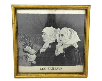 Neyret Freres Stevengraph. Antique French Woven Silk Picture. Palm Sunday after Elizabeth Sonrel. Jacquard Fabric Art. Religious Wall Decor.