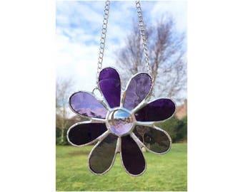 Stained Glass Purple Flower Suncatcher Decoration