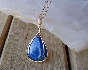 Teardrop Lapis Necklace   Blue Lapis Lazuli in 14K Gold Filled   Wire Wrapped Lapis Pendant