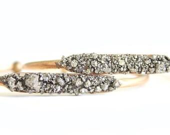 Pyrite Cuff - Raw Pyrite Gold Cuff Stacking Bracelet