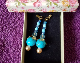 Beautiful blue marble glass bead drop earrings