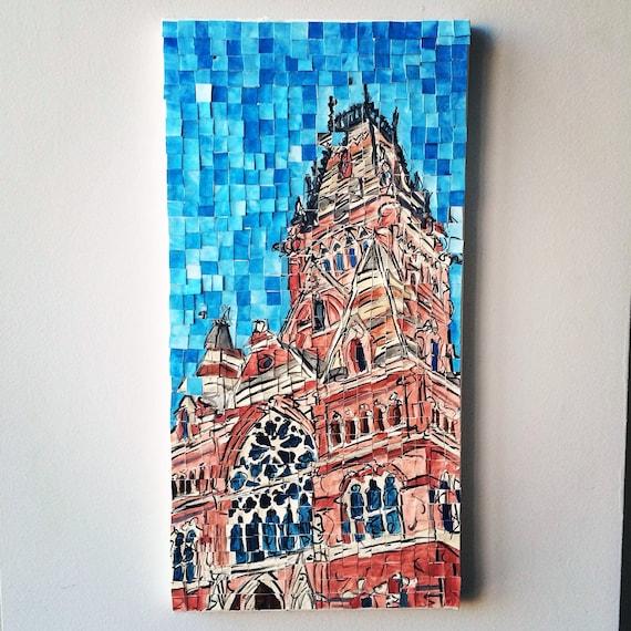 "Harvard University Annenburg Hall Architectural Art: 10""x20"" Original Painting"