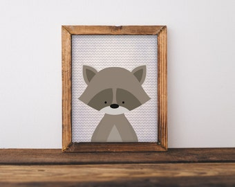 Woodland Printable Wall Art, Woodland Raccoon art, Baby Boy baby girl Nursery decor, Forest Animal print, Nursery art, Raccoon art, forest