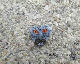 OWL polymer clay steampunk Heart Necklace.